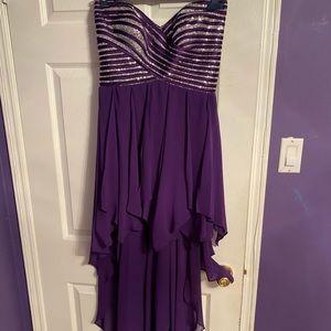 Purple Sparkly Dress high-low